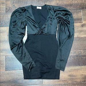 Lioness Black Puffy Sleeve Dress
